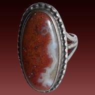 Petrified Wood Agate & Silver Navajo Ring