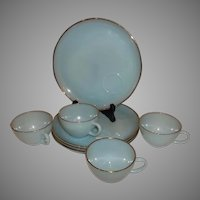 Fire King Turquoise Snack Set