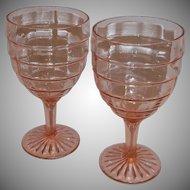 Pink Depression Block Optic Set of 2 Goblet