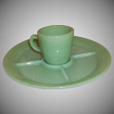 Fire King Jadeite Wagon Wheel Grill Plate And Mug