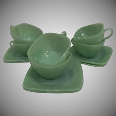 Fire King Jadeite Charm Cup & Saucer Sets, 5 available