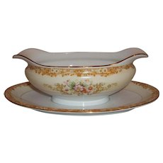 Noritake Cereus 615 Gravy Boat w/attached plate