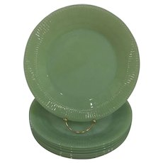 """Fire King Jadeite Jane Ray Dinner Plate 9"""" –7 Available"""