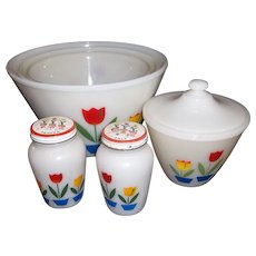 Fire King 1940's Tulip Nesting Bowl, Grease Jar, plus S&P