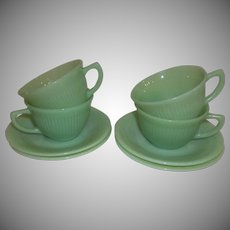 Fire King Jadeite Jane Ray Coffee Cup & Saucer Set Of Four
