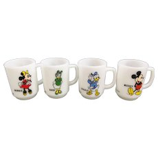 Anchor Hocking 1970's Disney Mickey Mouse Coffee Mug Set