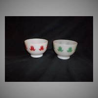 RARE - Fire King Set of 2 Tulip Cottage Cheese Bowls
