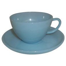 Fire King Turquoise Cup & Saucer – 5 Available
