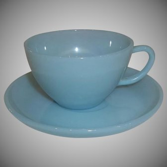 Fire King Turquoise Cup & Saucer – 8 Available