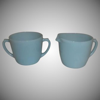 Fire King Turquoise Blue Sugar & Creamer Set