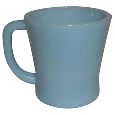 Fire King Turquoise Blue D Handle Mug
