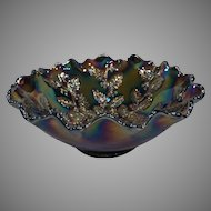 "Fenton Carnival Glass Holly 8"" Compote"
