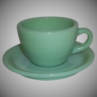 Fire King Jadeite Restaurant Ware Coffee Mug & Saucer Set