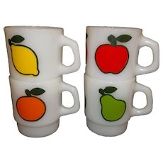 Anchor Hocking Fire King Super Fruit Mugs Complete Set Of Four
