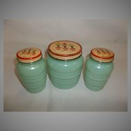 Fire King Jadeite Tulip Salt, Pepper & Grease Jar Set
