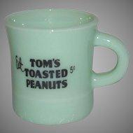 """Vintage Jadeite C Handle Mug """"Tom's Toasted Peanuts"""""""