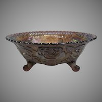 """1960's Imperial Glass Rose Lustre 7 1/2"""" Footed Bowl"""