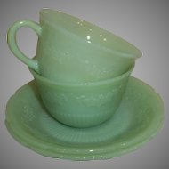Fire King Jadeite Alice Cup & Saucer Set of Two