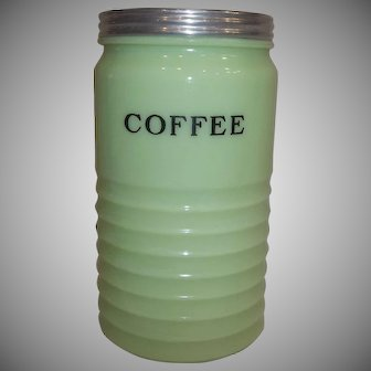 Jeanette Glass Co. 1930's  Jadeite Ribbed Coffee Canister