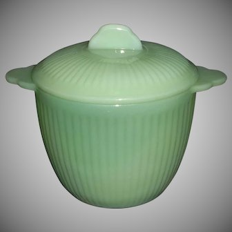 Fire King Jadeite Jane Ray Sugar Bowl with Lid
