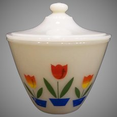 Fire King Tulip Grease Jar with Lid 1950's