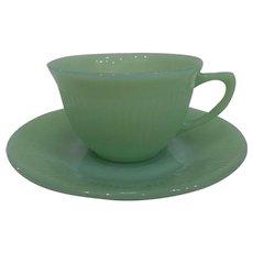 Fire King Jadeite Jane Ray Coffee Cup & Saucer Set