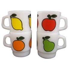 Anchor Hocking Fire King Super Fruit Mugs Complete Set Of Four