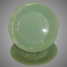 """Fire King Jadeite Jane Ray 9"""" Dinner Plates lot of Two"""