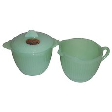 Fire King Jadeite Jane Ray Sugar & Creamer Set With Label