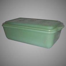 "Fire King Philbe Jadeite Refrigerator Dish W/Lid  10"""