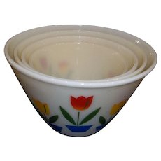 Fire King Ivory Tulip Nesting Bowl Set of 4, 1950's