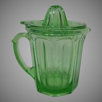 A & J Green Depression Glass Juicer And Reamer.  1930's RARE