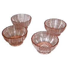 Anchor Hocking Pink Depression Old Café, Sherbets, Set of 4