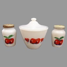 Fire King Apple & Cherries Grease Jar, Salt, & Pepper Set