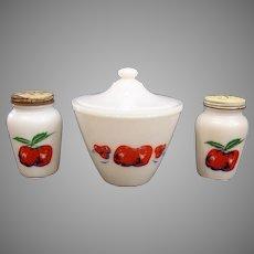 Fire King Apple & Cherries Grease Jar, Salt, & Pepper Set