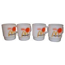 Fire King Stacking Good Morning McDonald's Mugs – Lot of 4