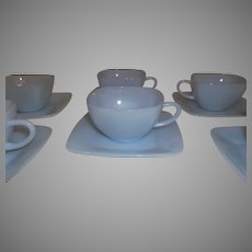 Fire King Charm Azurite Cup & Saucers lot of 6 sets