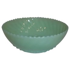 Fire King Jadeite Ribbed Edge Swirl Diamond Bottom Bon Bon