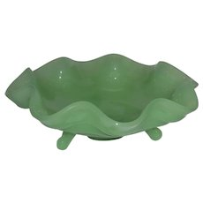 "Vintage Jadeite Footed, Ruffled Compote 7"" Bowl"