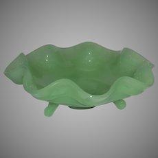"Vintage Jadeite Footed, Ruffled Compote 7"" Bowl"