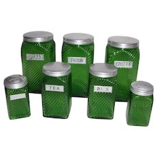 Hoosier Owens Illinois 7 pc Vintage Shaker Green Range Set & Canisters