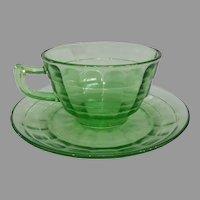 Green Depression Block Optic Cup & Saucer Set