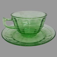 Green Depression Block Optic Cup & Saucer Set
