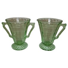 Green Depression Block Optic Sugar & Creamer Set