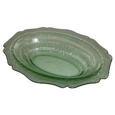 "Green Depression Patrician Spoke 10"" Vegetable Bowl Federal Glass"