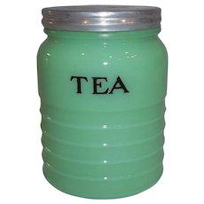 Jeannette Glass Co. Jadite Ribbed Tea Canister