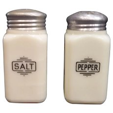 McKee Salt and Pepper Custard Small Box Shakers, 1930's