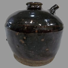 Antique Brown Earthenware Chinese Soy Pot