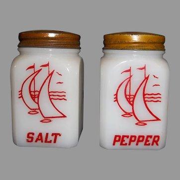 Vintage Salt and Pepper Shaker Set Red Ships