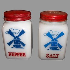Hazel Atlas Windmill Salt & Pepper Range Shaker Set